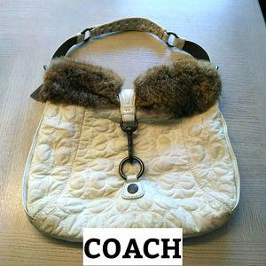 Coach, White Fur Bag